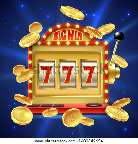Slot machine. Big win in casino gamble, one lever armed bandit with numbers and machined reel. Fortune winning banner, vector winners of gambling games online playing with jackpot background