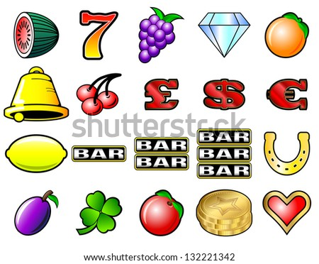 Slot machine fruits and other icon vector illustrations