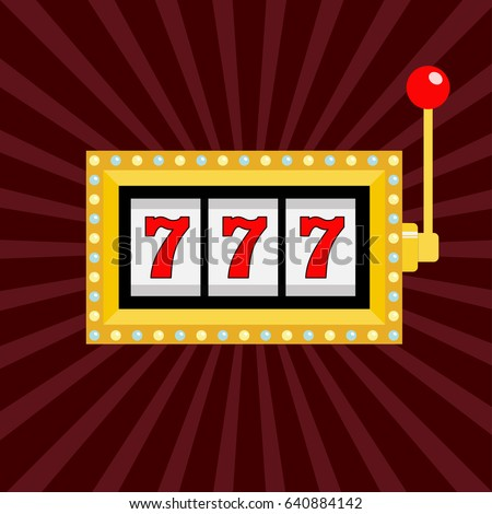 Slot machine. Golden color Glowing lamp light. 777 Jackpot. Lucky sevens. Red handle lever. Big win Online casino, gambling club sign symbol. Flat design. Bordo starburst sunburst background. Vector