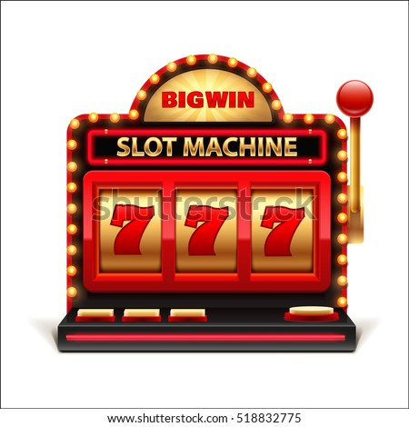 slot machine isolated on white 3d casino object 777 big win