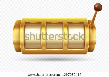Slot machine. Jackpot poker 777 golden slot machine. Gambling gold prize fortune vector concept Photo stock ©