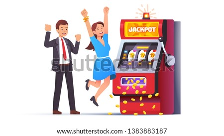 Slot machine jackpot win. Lucky man & woman couple celebrating jumping happy winning money coins with all sevens spin combination on fruit one-armed bandit. Flat vector winner character illustration