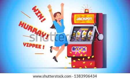 Slot machine jackpot win. Lucky woman celebrating jumping happy winning money coins with all sevens spin combination on fruit one-armed bandit. Flat vector winner character illustration