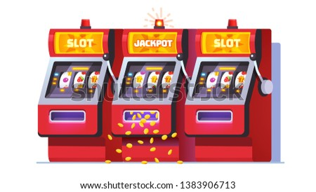 Slot machine jackpot win poster. Lucky all sevens spin combination on one of three fruit one-armed bandit. Money coins raining from slot. Flat vector object illustration
