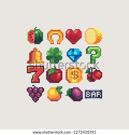 slot machine symbols pixel