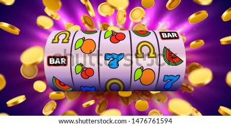 Slot machine with flying golden coins wins the jackpot. Big win concept. Vector illustration