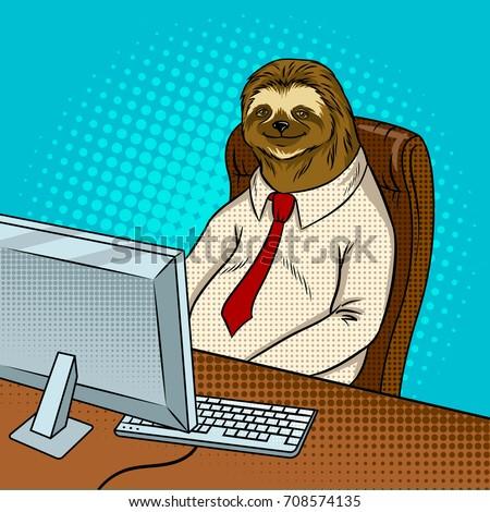 Sloth animal office worker pop art retro vector illustration. Comic book style imitation.