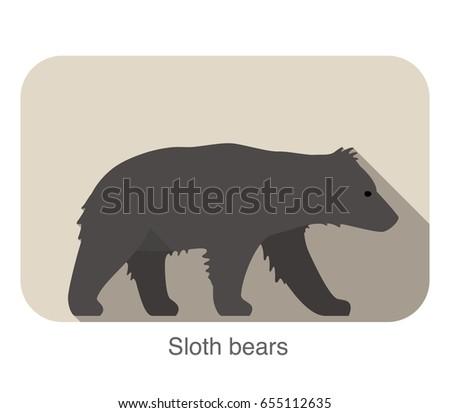 sloth bear walking side flat 3d