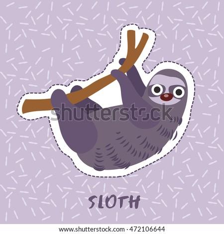 Sloth : Cute Animal Set :  Vector Illustration