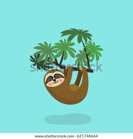 Sloth hanging on tree branch . Cute cartoon character. Wild jungle animal collection. Baby education. Isolated. Flat design Vector illustration