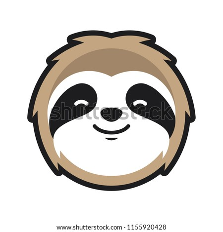 Sloth Head character mascot logo design illustration vector