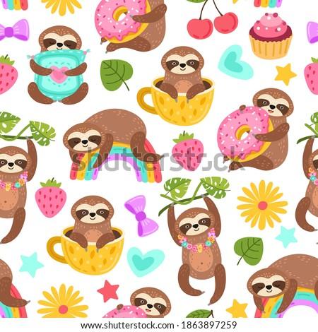 Sloth pattern. Sleep animal, cartoon sloths eat dancing or dream. Cute zoo characters, exotic characters print exact vector seamless texture