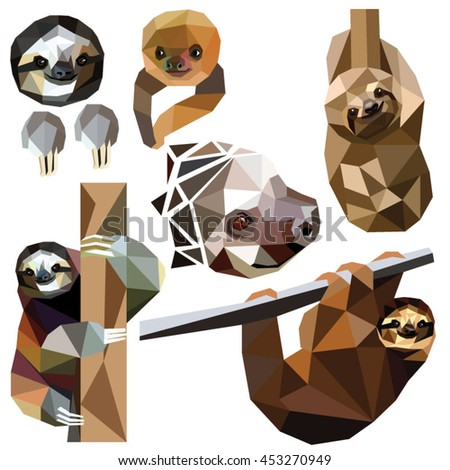 Sloth set colorful low poly animal designs isolated on white background. Vector illustration. Collection in a modern style.