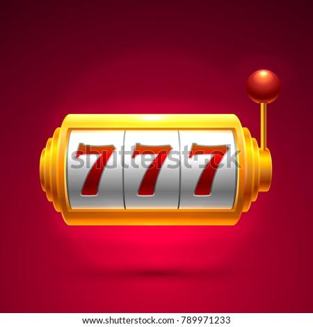 Slots 777 casino jackpot, modern light gold. Vector illustration