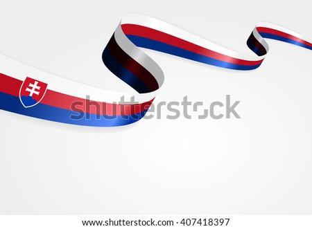 Slovak flag wavy abstract background. Vector illustration.