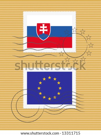 Slovakia and European Union - stamps with flags