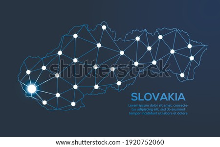Slovakia communication network map. Vector low poly image of a global map with lights in the form of cities. Map in the form of a constellation, mute and stars Photo stock ©
