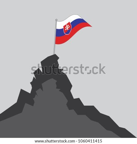 slovakia flag on the mountain
