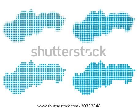 Slovakia Map Vector Slovakia Map Mosaic Set