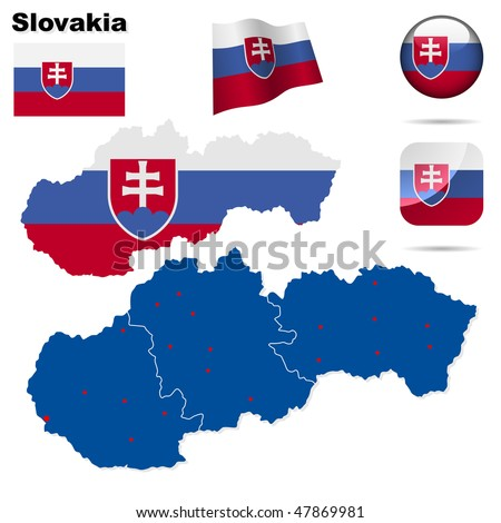 Slovakia  vector set. Detailed country shape with region borders, flags and icons isolated on white background. - stock vector