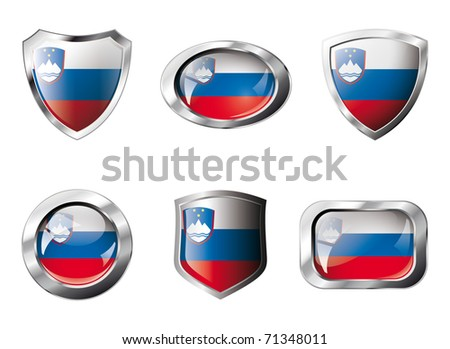 Slovenia set shiny buttons and shields of flag with metal frame - vector illustration. Isolated abstract object against white background.