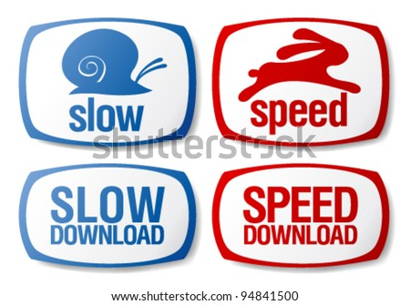 Slow and speed download buttons set. - stock vector