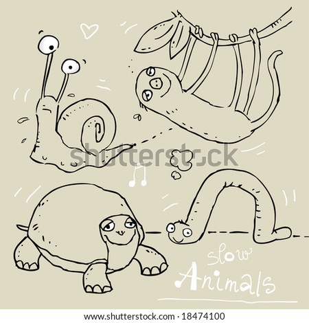 images of animals for kids. stock vector : slow animals, funny vector contour drawing, kids wallpaper