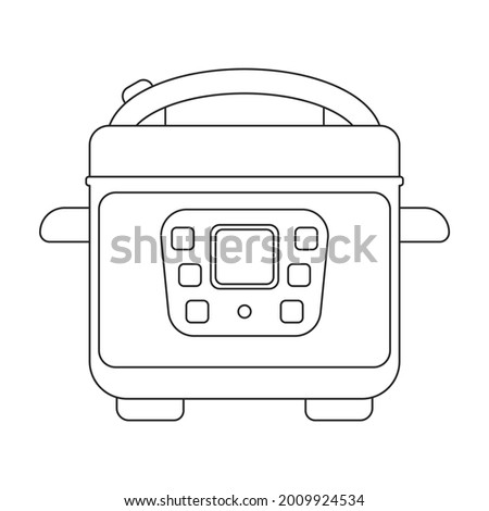 Slow cooker vector icon.Outline vector icon isolated on white background slow cooker. Stock photo ©