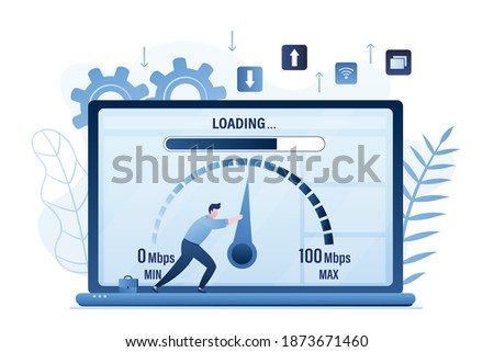 Slow loading of media content. Speed test. Male user pulls an arrow on measuring scale. Signal quality improvements, speed optimization. Tariff plan with fast internet on laptop. Vector illustration