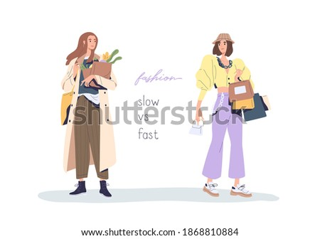 Slow vs fast fashion movement against overconsumption and low-quality mass market. Social phenomenon of eco-conscious consumption and shopping. Flat vector illustration isolated on white background Сток-фото ©