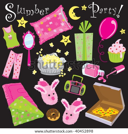 Free Vector Birthday on Slumber Birthday Party Invitation Clipart Stock Vector 40452898