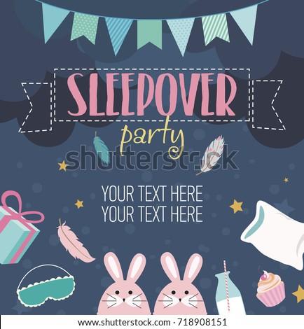 Slumber party invitation card. Birthday invitation card. Vector illustration Stock photo ©