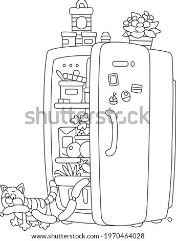 Sly fat cat glutton filching tasty sausages from a fridge with foods, black and white outline vector cartoon for a coloring book page Stock photo ©