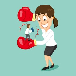 Sly smiling businesswoman holding fighting business partners, vector illustration cartoon