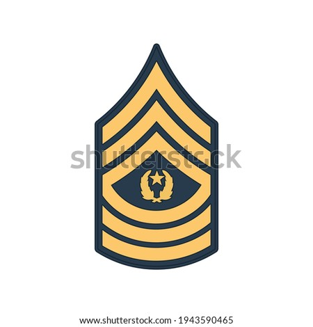 SMA sergeant major of army insignia of US forces isolated icon. Vector rank of non-commissioned officer armed forces, police enlisted military stripe. United States chevron, sign on uniform Stock photo ©