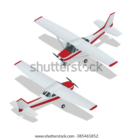 Small Airplane passenger plane. Flat 3d isometric high quality transport. Vehicles designed to carry of passengers.