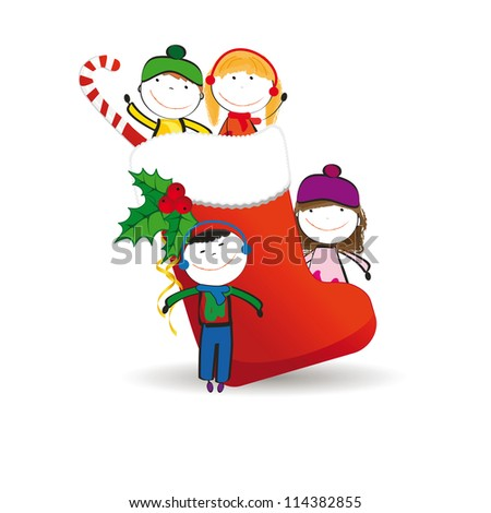 Small and happy kids in winter with christmas icon