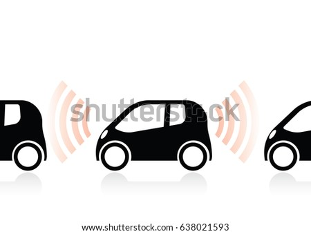 small black city cars on equal distance with distance sensor wave