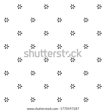 Small black flowers motif pattern white background monochrome graphic floral digital wallpaper, fabric design. Ladies dress, apparel textile, garment, wrap packaging delicate all over geo print block. Photo stock ©