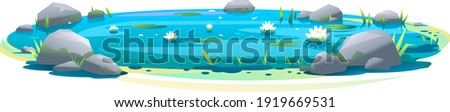 small blue decorative pond with