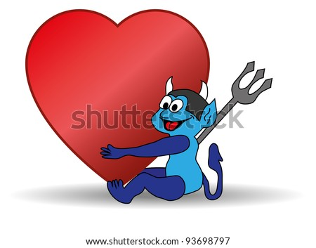 small blue devil holding a big Valentine heart