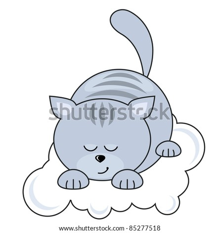 Small blue pretty cat sleeping on a cloud - stock vector