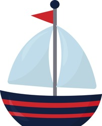 Small boat on water , illustration, vector on white background