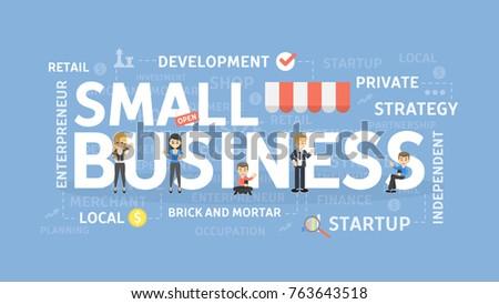 Small business concept illustration. Idea of development, money and success.