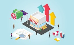 small business growth development with finance report and data money with modern isometric style - vector