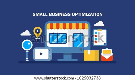 Small business, SEO, local business optimization, e-commerce marketing flat vector illustration isolated on dark background