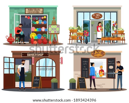 Small business shops set. Owners of ceramics store, flower and plant, barber shops, coffeeshop. Local downtown market vector illustration. Cuisine, modern service and customers.