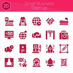 small business start up icon set. 20 filled icons on theme small business start up. collection of Earth grid, Cargo, Email, Invitation, Customer support, Stewardess, Earth globe