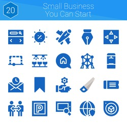 small business you can start icon set. 20 filled icons on theme small business you can start. collection of Ticket, Flower, Locker, Plane, Atomium, Searcher, Saw, Parking