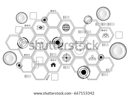 Small buttons and hive with icons vector tech background
